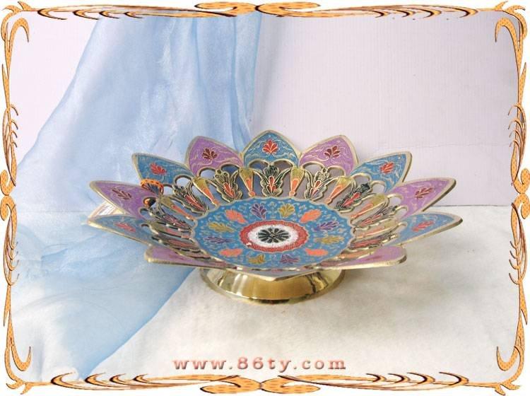 印度手工铜彩绘果盘
