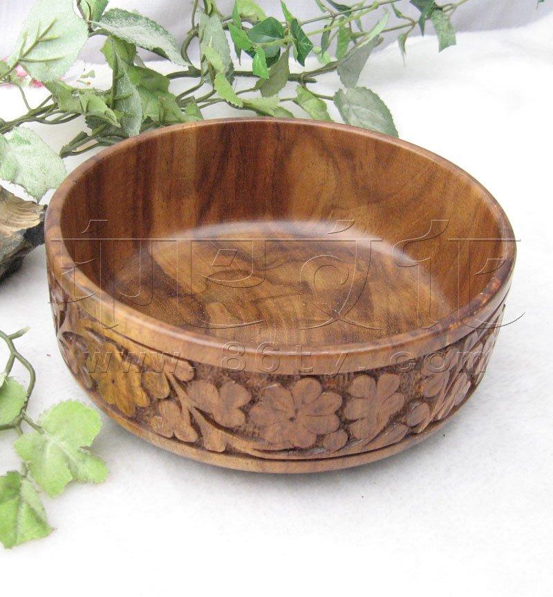 印度酸枝木雕花碗
