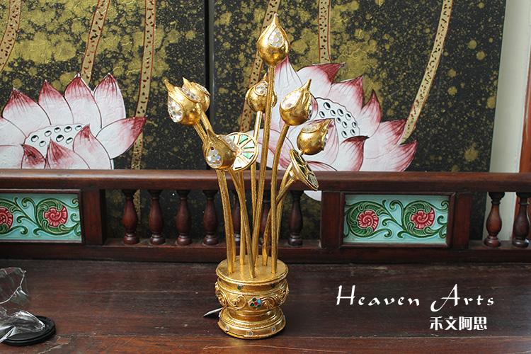 泰国大象荷花木雕图片