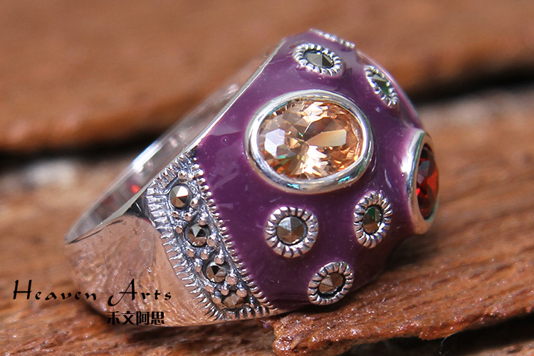 嵌宝石手绘彩釉戒指