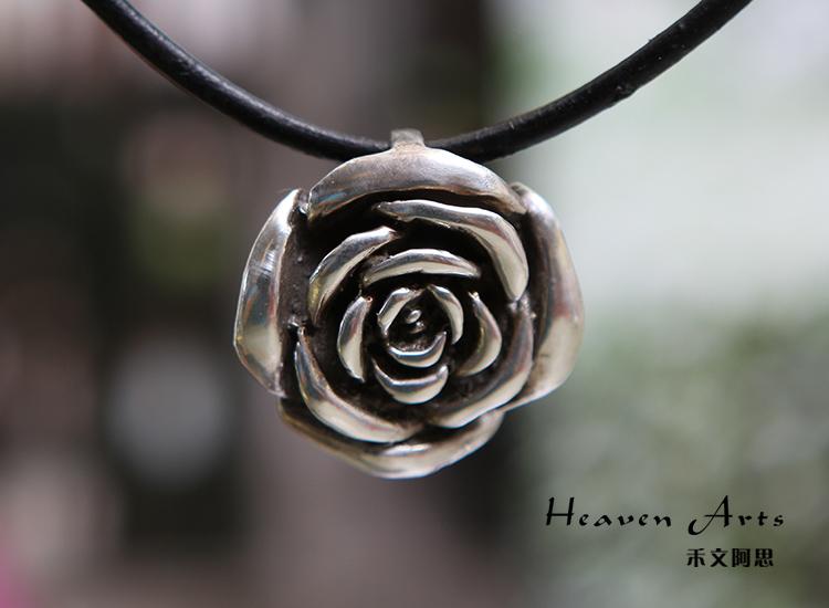 925纯银挂坠-玫瑰花