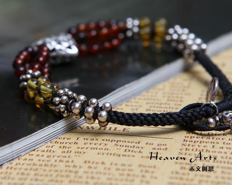 一根线串珠子手链编法图解