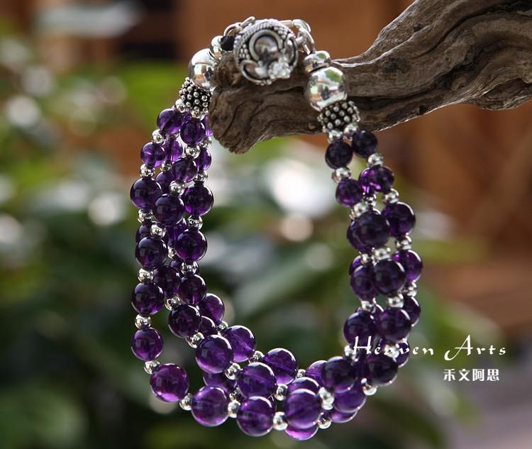 串紫水晶银手链 - 手链