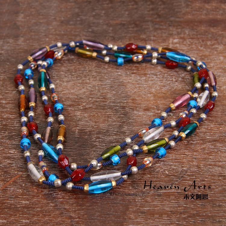 手工编织琉璃项链