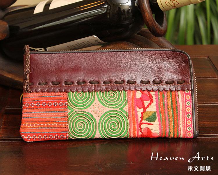 十字绣真皮钱包 - 布艺包包