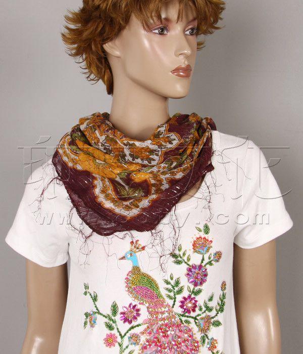 金线菩提花方巾