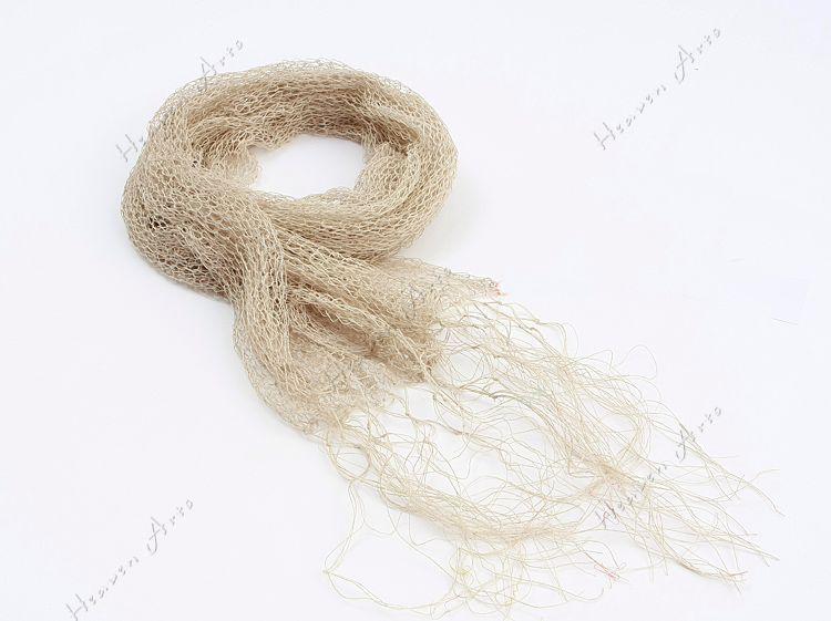 天然麻编花围巾 - 丝巾