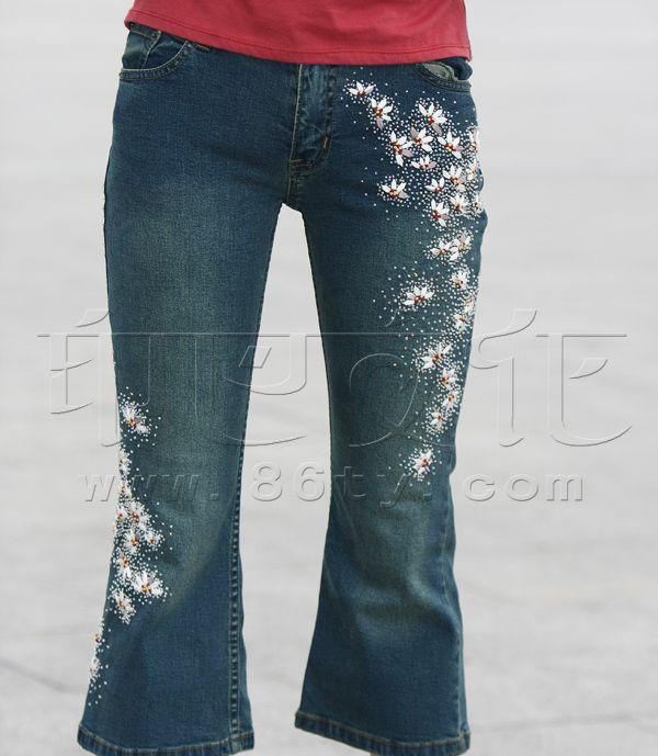 手工布艺 - 裤子 - 时尚钉珠牛仔裤