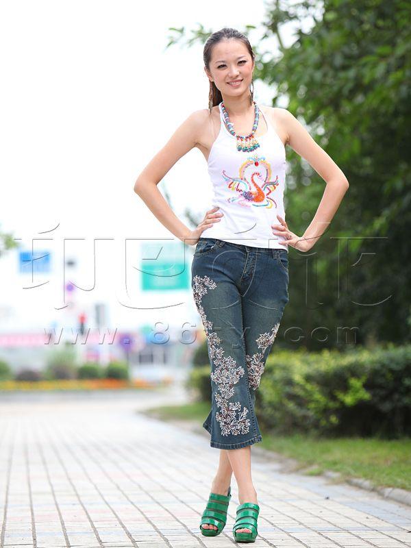 手工布艺 - 裤子 - 时尚钉珠绣线牛仔裤