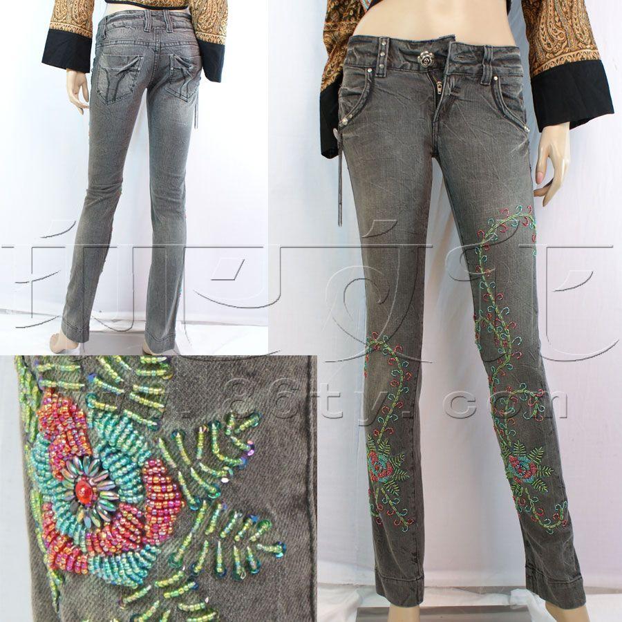 绣珠花牛仔裤