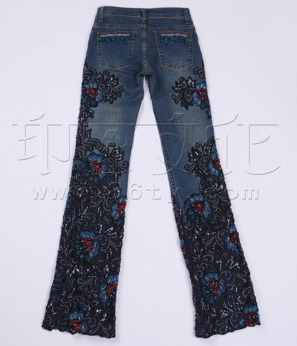 手工布艺 - 裤子 - 镂空花钉珠牛仔裤
