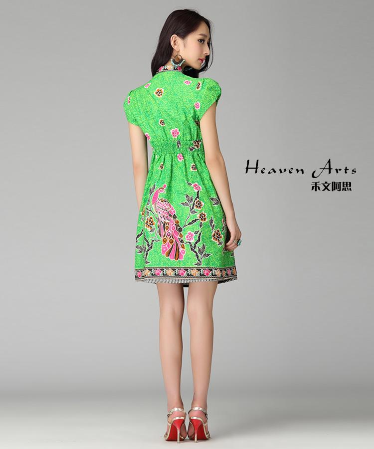 孔雀连衣裙装裙子