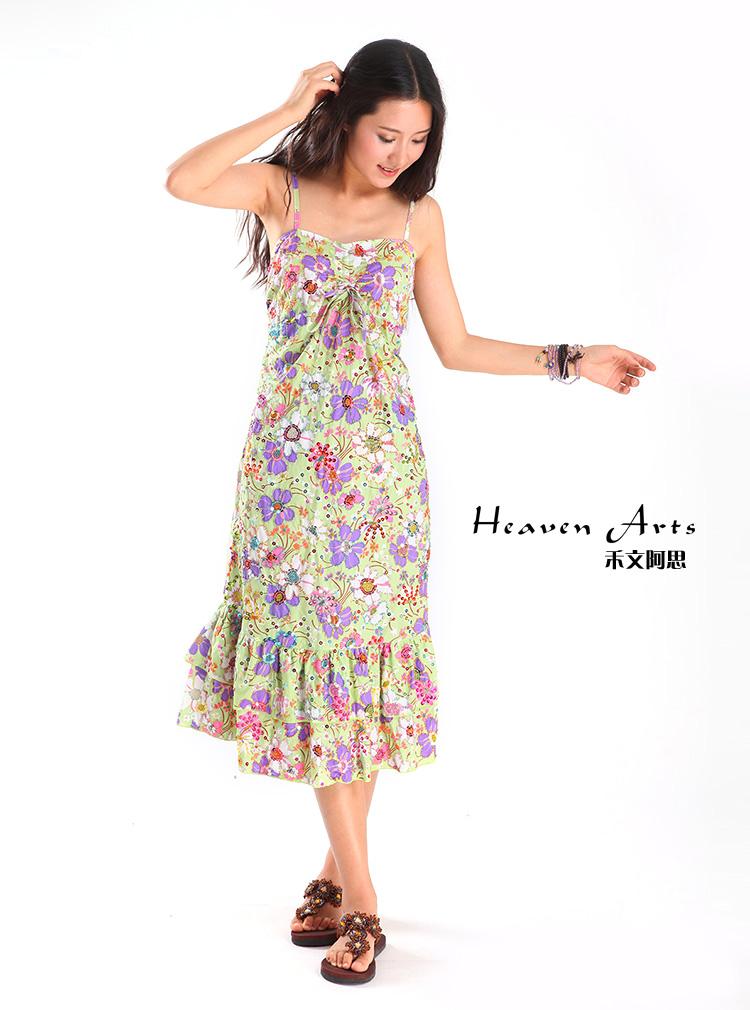 夏日之花吊带裙 - 裙子