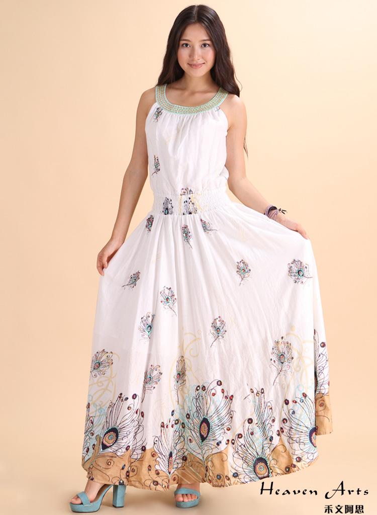 孔雀羽毛连衣裙 - 裙子