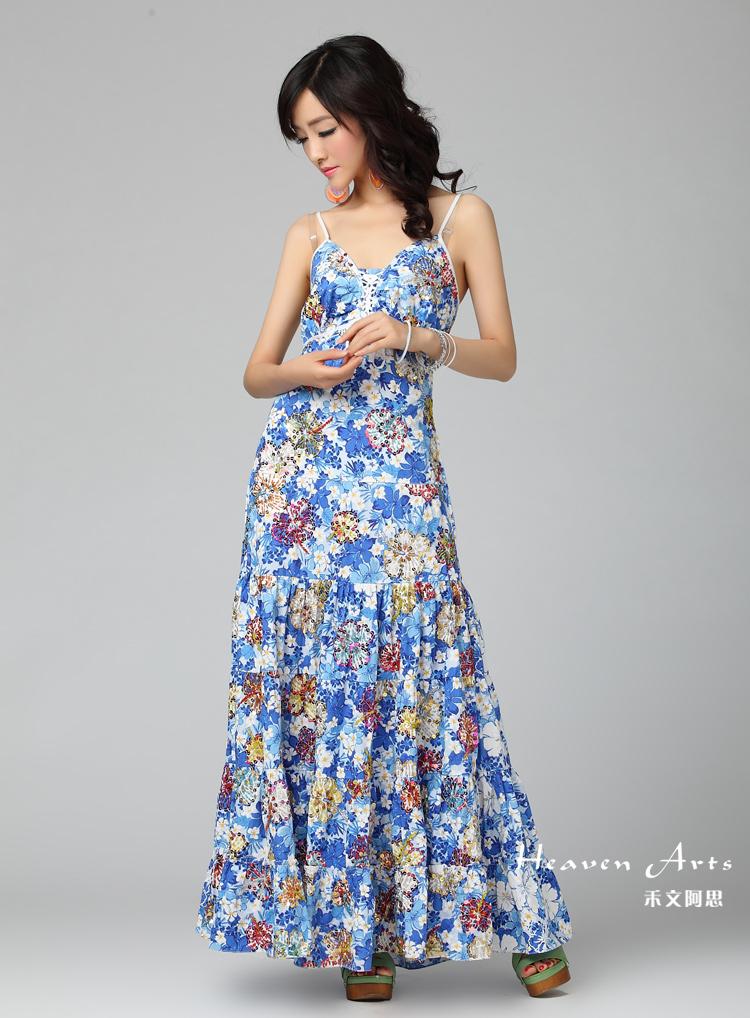夏日之花吊带连衣裙