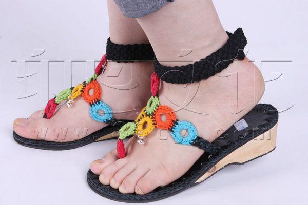 手工编线凉鞋 - 鞋子