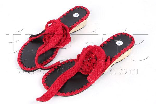 手工编线凉鞋图片