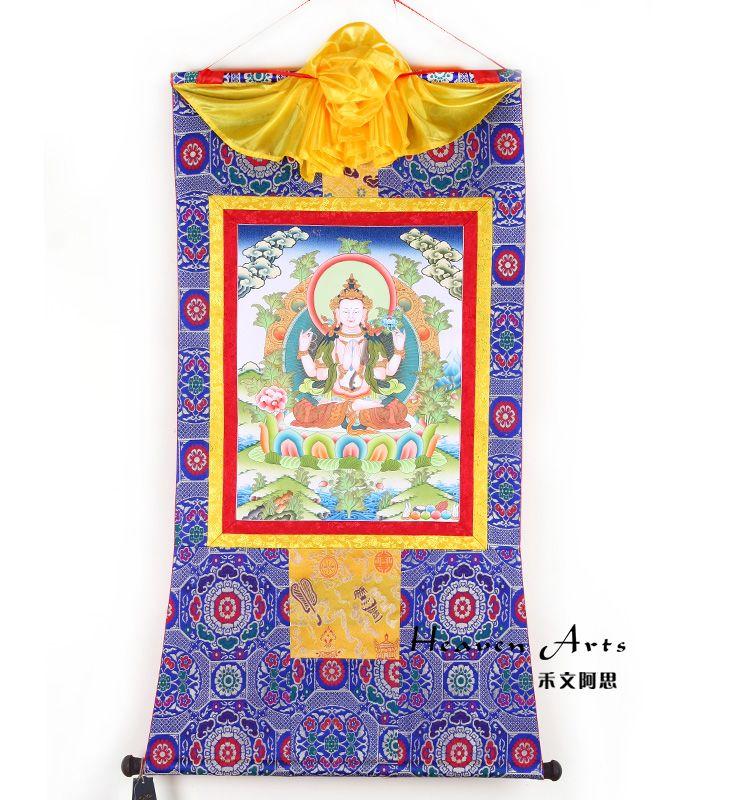 印度手绘唐卡-四臂观音收藏