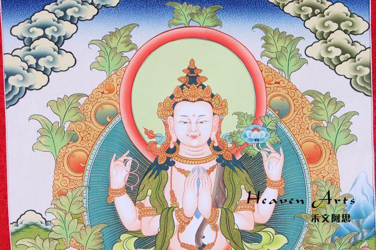 印度手绘唐卡-四臂观音