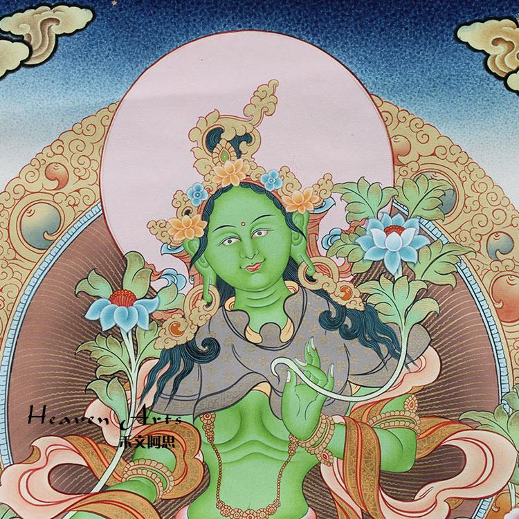 印度手绘唐卡-绿度母