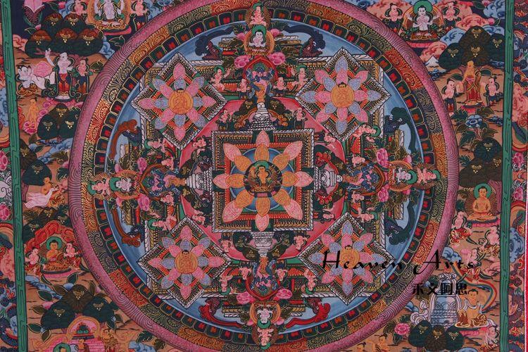 印度手绘唐卡—坛城