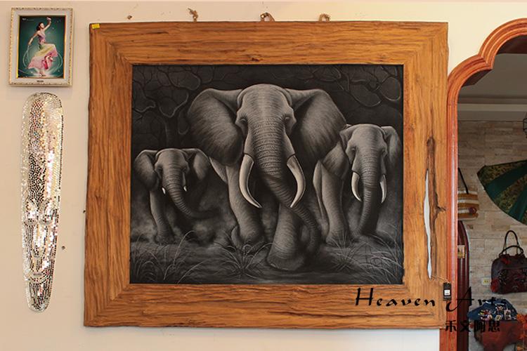印度手绘画-大象 - 印度画
