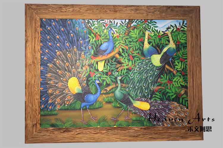 印度手绘画-孔雀