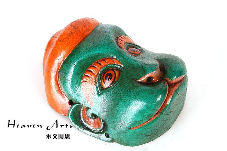菩提木彩绘面具(猴)