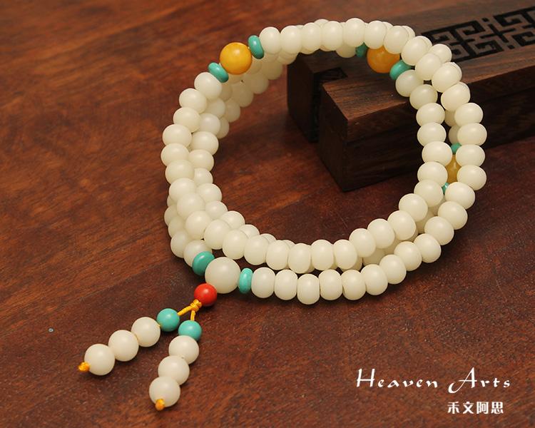 白菩提根苹果珠配蜜蜡绿松石挂珠0.8*0.6cm
