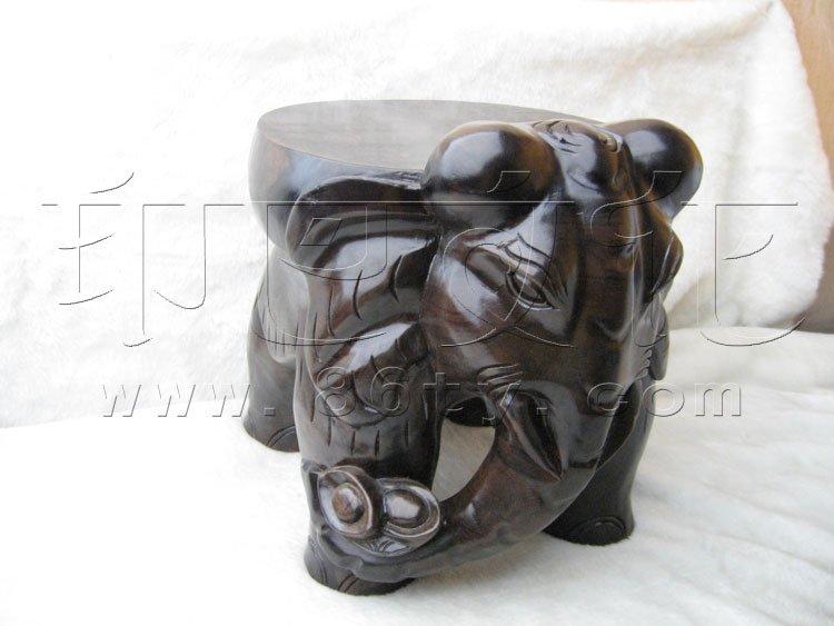 黑檀木座凳-大象